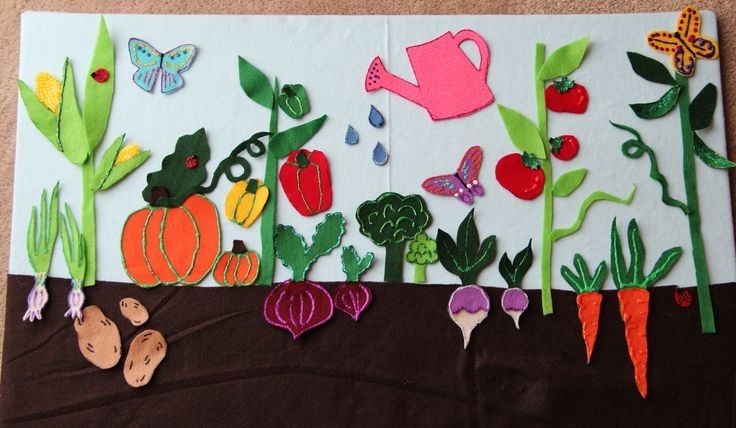 felt board garden - above and below ground veggies with leaves, stems, vines, and a few extras such as lady bugs, butterflies, and watering can.