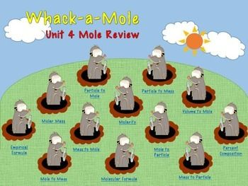 This PowerPoint game is a whack-a-mole review where the students get to choose questions (similar to a Jeopardy format) and review their molar conversions at the same time. This document is fully editable, however the current questions/answers include: Mole Conversions, Molarity, Empirical, Molecular Formula, Percent CompositionThe file includes a PowerPoint game, instructions, and answer keys.