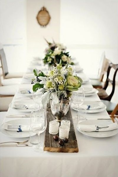 Wedding Table Runner Ideas - as shown on Intimate Weddings -- wooden plank running down the middle of table - genius!