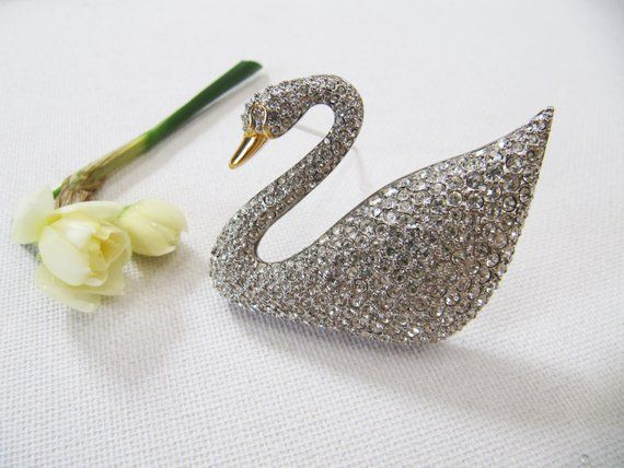 Large Victorian Style Swan With Sapphire Eyes 925 Sterling Silver