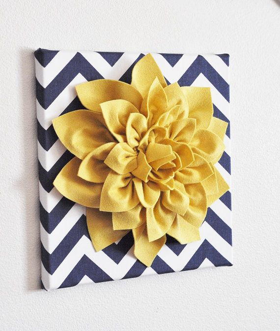 Wall Flower -Mellow Yellow Dahlia on Navy and White Chevron 12 x12 Canvas Wall Art- 3D Felt Flower