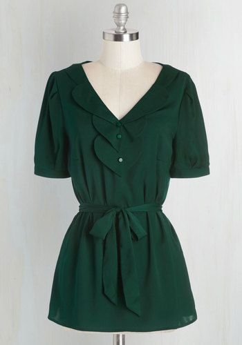 Team Leader Top in Emerald by ModCloth - Green, Solid, Work, Short Sleeves, Fall, Woven, Good, Exclusives, Variation, V Neck, Long, Buttons, Belted