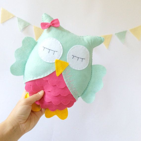 Owl Stuffed Toy, Mint and hot pink, Felt owl decor, nursery room, baby toy, owl nursery room by LaPetiteMelina