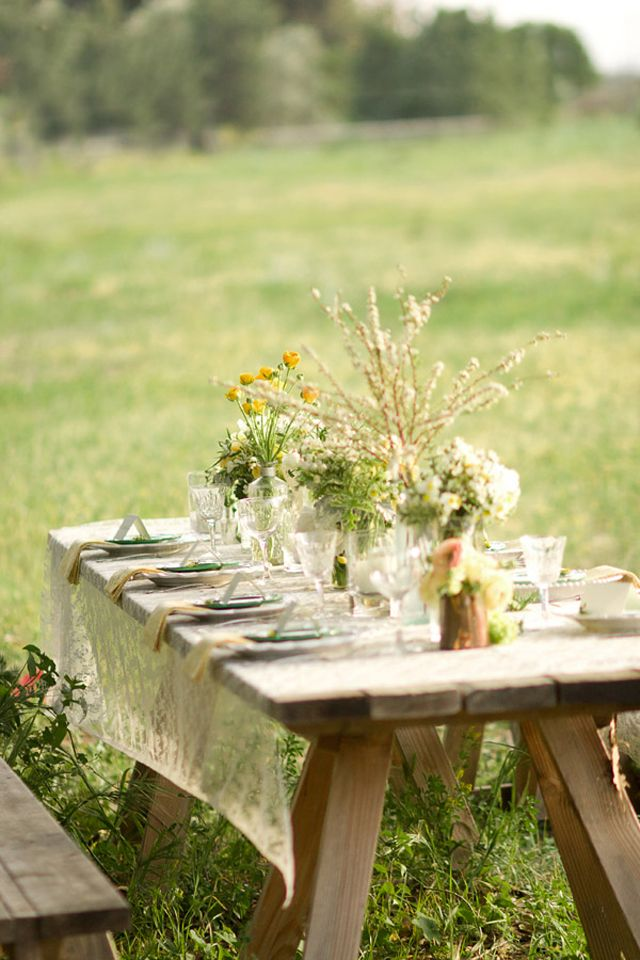 Do we want tables or people sitting on the ground? I think tables would be more comfortable...? Maybe we could do it all eclectic and have mismatched chairs and jars with flowers and stuff?