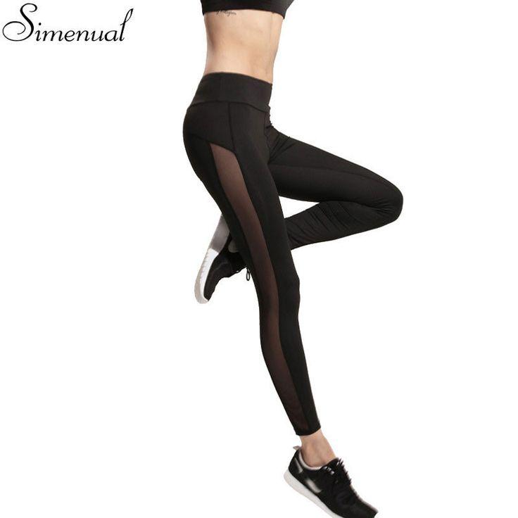 women mesh splice fitness slim black legging sportswear clothing new running gym leggins