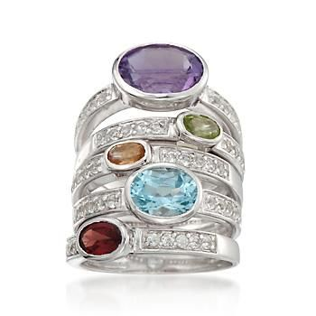 Our set of five rings shimmers with 4.00 ct. t.w. amethyst, peridot, citrine, blue topaz and garnet each presented in a different band with .75 ct. t.w. white topaz adding extra sparkle! Wear together or split the set up for extra fashion looks. Sterling silver rings. Free shipping & easy 30-day returns. Fabulous jewelry. Great prices. Since 1952.