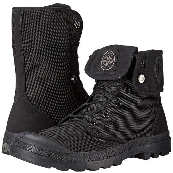 Palladium Mono Chrome Baggy II Boots (€70) ❤ liked on Polyvore featuring shoes, boots, mid-calf boots, fold-over boots, lace up fold over boots, palladium boots and nubuck boots