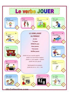 """Cultural Activities/ Around Town: The basic French verb jouer which means """"to play"""". When using the word in French you ask someone if they want to play a game, or something."""