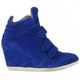 Blauwe suède wedge sneakers