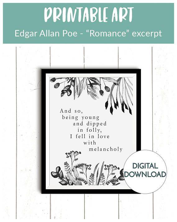 Edgar Allan Poe Literary quote Art print gift poster wall home decor