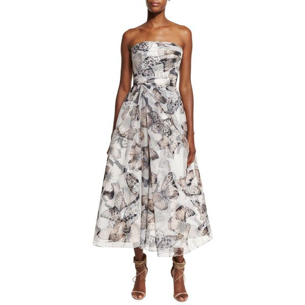 Ml Monique Lhuillier Strapless Butterfly-Print Midi Cocktail Dress (£720) ❤ liked on Polyvore featuring dresses, black multi, midi cocktail dress, mid calf cocktail dresses, tea length dresses, a line midi dress and strapless midi dress