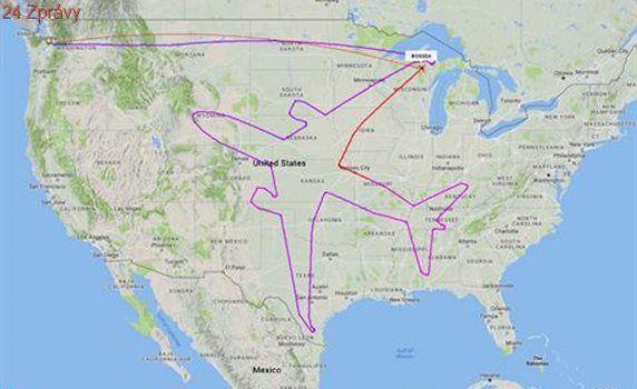 Boeing při testovacím letu nakreslil nad Amerikou tvar letadla, trvalo mu to 14 hodin