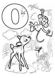 Картинки на букву О: олень, обезьяна, оса, облако, очки