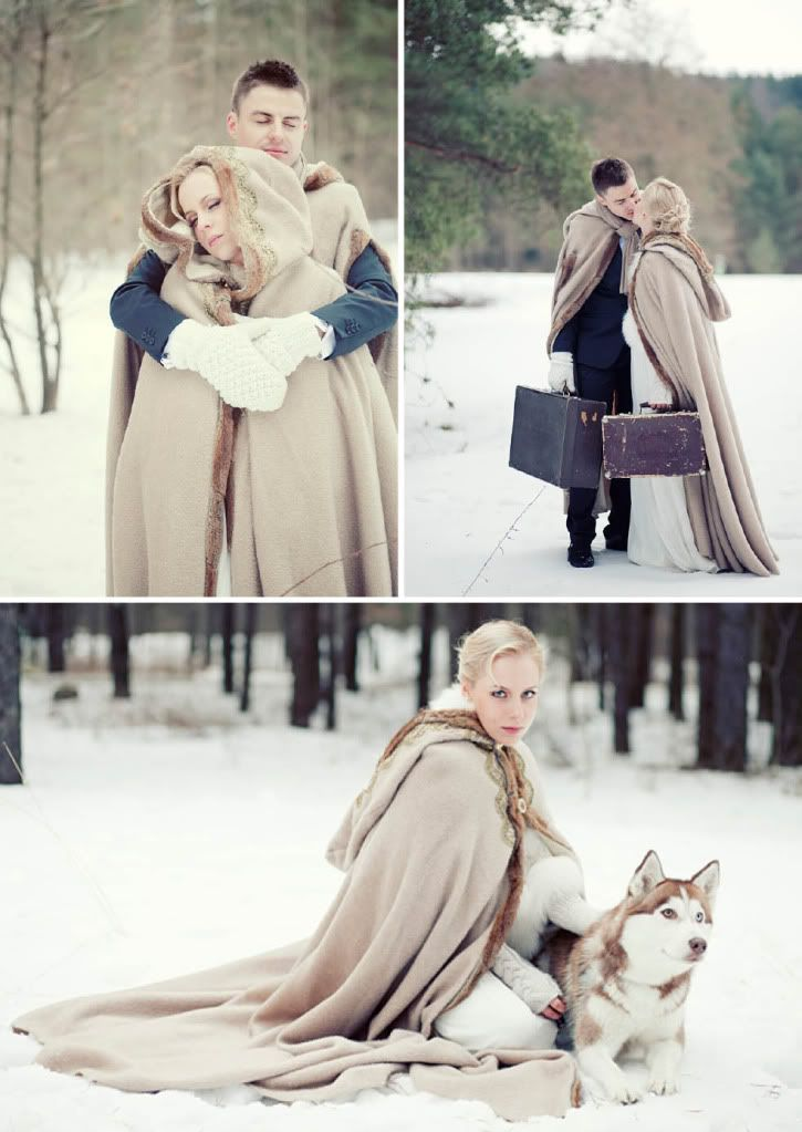 Can you tell I'm loving this particular wedding? I love the capes and the husky. Do you think I could borrow one for my wedding?