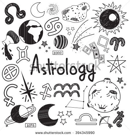 Astrology and fortunetelling doodle handwriting sketch sign and symbol in white isolated background paper used for presentation title or subject introduction, create by vector