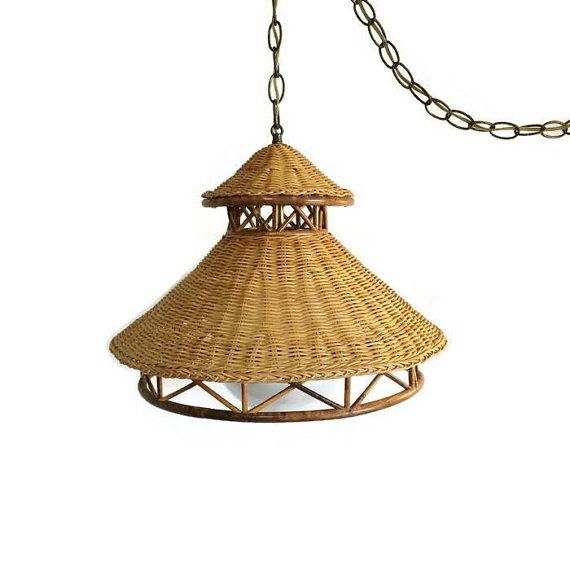 Vintage Natural Wicker Rattan Hanging Lamp by #AlegriaCollection #atsocialmedia