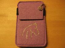 Smartphone-Tasche flieder mit Strass-Motiv
