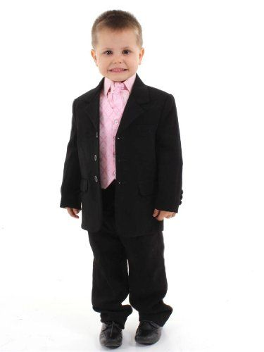 5-Piece Boys Black & Pink Tail Suit Wedding,Formal,Pageboy 5 piece fully-lined Suit: Jacket, Trousers, Waistcoat, Shirt and Tie/Cravat. Black Jacket, trousers, Pink waistcoat and shirt. Excellent quality. Ideal for Weddings, Christenings, Page Boys, and other special occasions. UK to USA Delivery approx 6-9 Working days.  #Poshtotz #Apparel