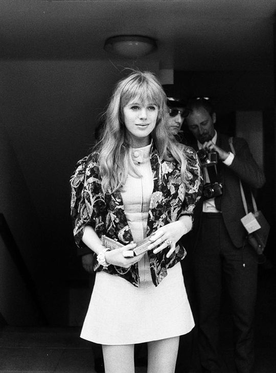 faithfullforever:  Marianne Faithfull arrives at a press conference after Mick Jagger and Keith Richards were acquitted of drug related charges against them after the infamous Redlands Bust | July 31st, 1967 | Photo by Roy Ilingworth