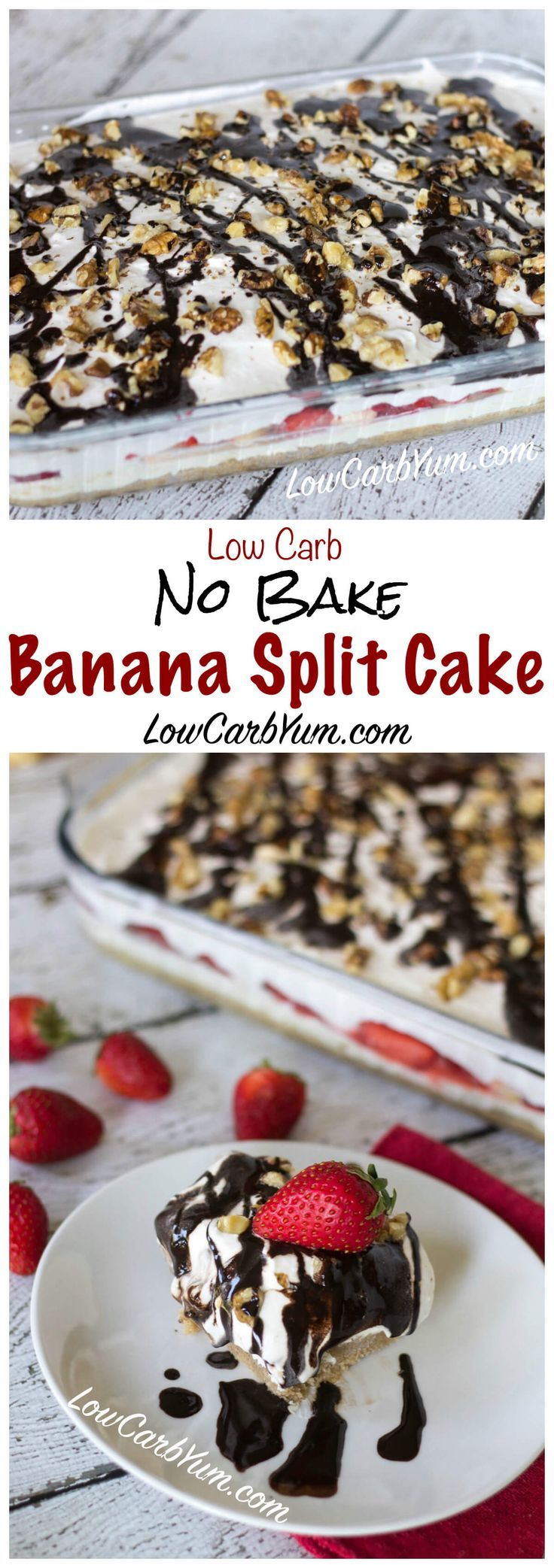 A delicious no bake low carb banana split cake cheesecake that looks and tastes spectacular! You can make a large pan of this yummy low carb dessert to share at a party. LCHF Keto Banting Gluten Free Dessert Recipe