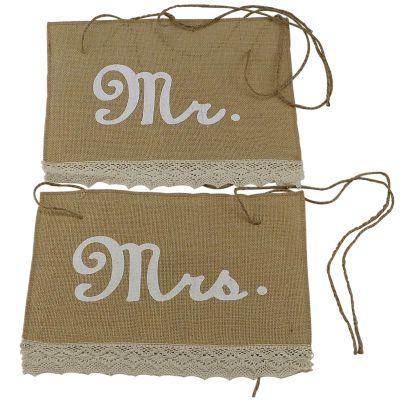 Pancartes pour chaises en toile de jute Occasions Celebrate It, Mr. et Mrs.
