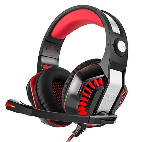 Cheap Best Gaming Headset Koiiko Stereo Over Ear Splendid Ambient Noise Isolation Gaming Bass Earbud Headband with Microphone Volume Control Gaming HiFi Earphone Headset for PS4 Xbox One Mac Laptop Tablet Phones (Black   Red) deals week