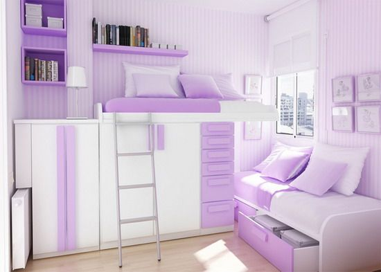 Cute Modern Violet Bedroom Design for Teenage Girls