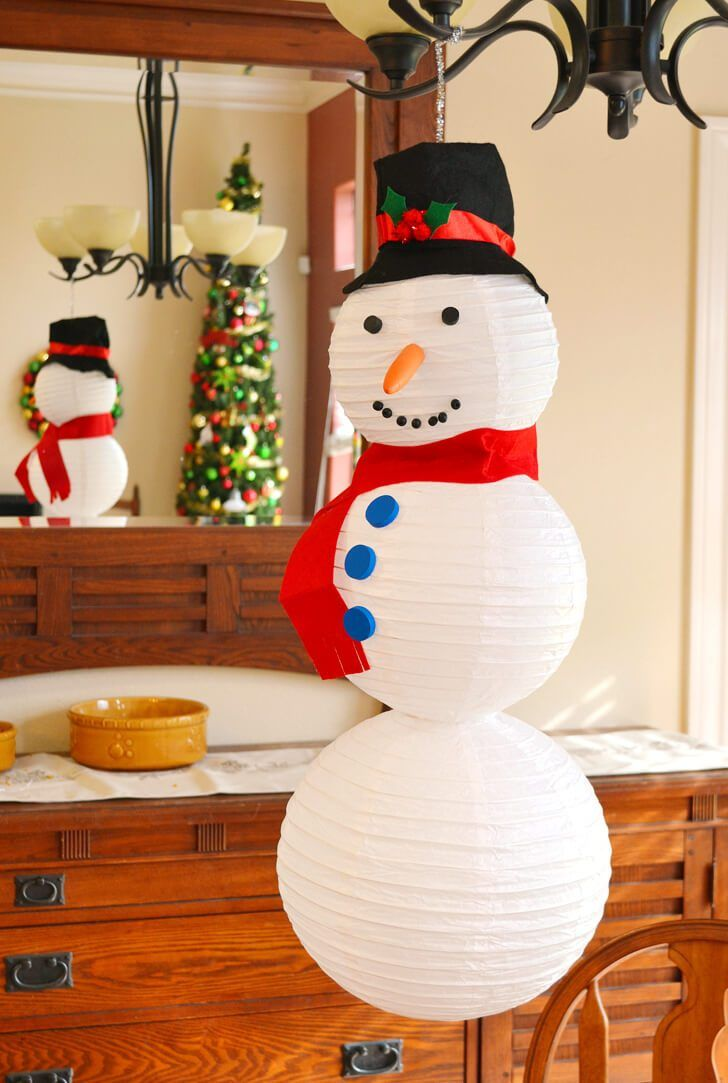 Paper Lantern Snowman Tutorial Christmas Christmas Decorations