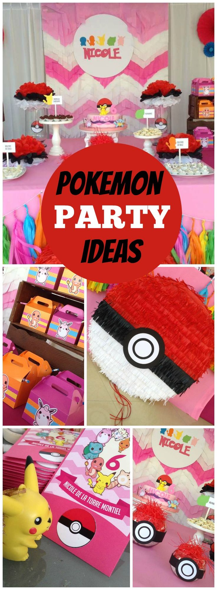 How fun is this girly Pokemon birthday party?! See more party ideas at CatchMyParty.com!