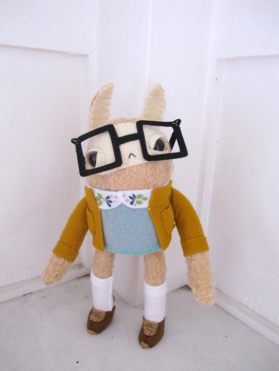 Nerdy Rabbit with Square spectacles, etsy