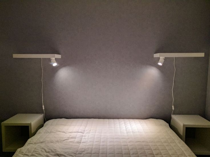 This is to make a pair of minimalist bedside reading lamps, taking advantage of the hollow core of the LACK shelves.
