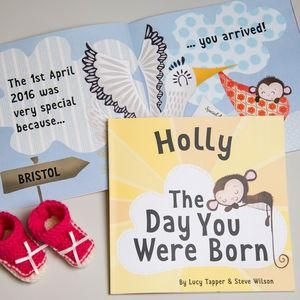 'The Day You Were Born' Personalised New Baby Book - Give a Christening gift that shows they are truly cherished. Thoughtful and original, lots of the products can be personalised as they are created by talented independent designers or small creative businesses.