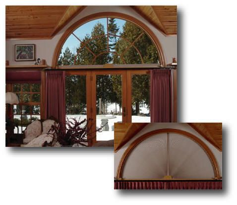 Moveable Arch Window Treatments For Half And Quarter Circle Arched Windows