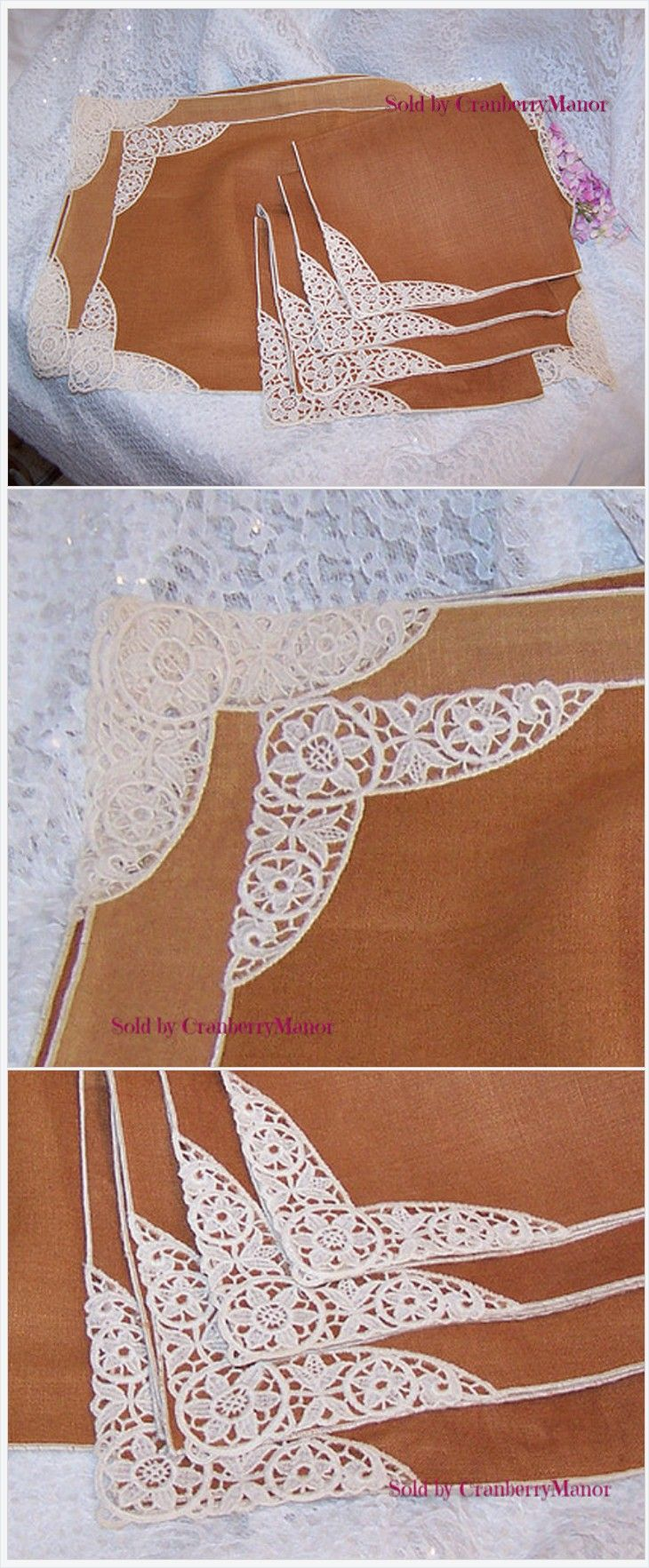 Tan & White #Lace Edged #Placemat and #Napkin Set #Vintage #MidCentury #Linen #Gift #GotVintage http://cranberry-manor.com/tan-white-lace-edged-placemat-and-napkin-set-vintage-mid-century-linen-gift/