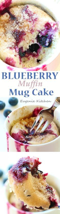 Perfect blueberry muffin which is ready in 5 minutes. Just mix and microwave! I love Juicy blueberries in this warm muffin. Even better than the oven-baked. YUM!