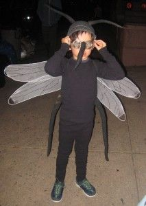Mosquito Costume created by Jodi Levine, Kids Director for Martha Stewart Living. Great idea to use tea strainer for spherical eyes!
