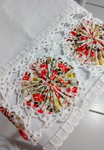 pano de prato decorado com fuxico