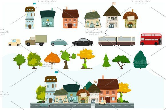 City cartoon elements by Nicolai-works on @creativemarket