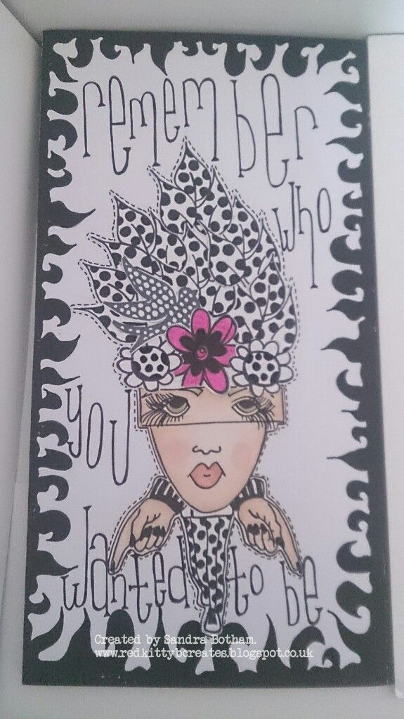 Red kitty b creates black and white dylusional doodle journal