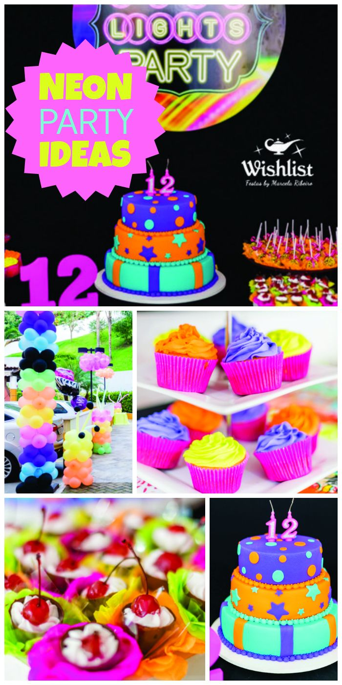 An awesome neon, girl birthday party, including cake and cupcakes with glow in the dark frosting!  See more party ideas at CatchMyParty.com!