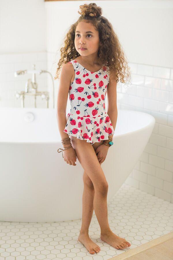 Kids Sweet Strawberry Skirted Swimsuit