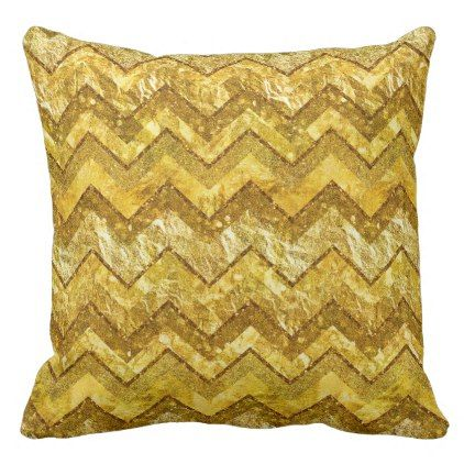 Gold Chevrons Zig Zag Golds Metal Glitter Stripes Outdoor Pillow - glitter glamour brilliance sparkle design idea diy elegant