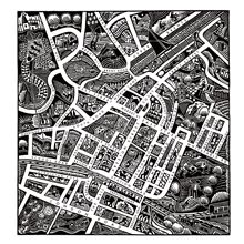 Faversham Town linocut map (hand lettered street names)
