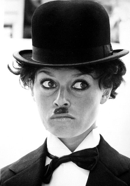 Brigitte Bardot in a Charlie Chaplin costume !