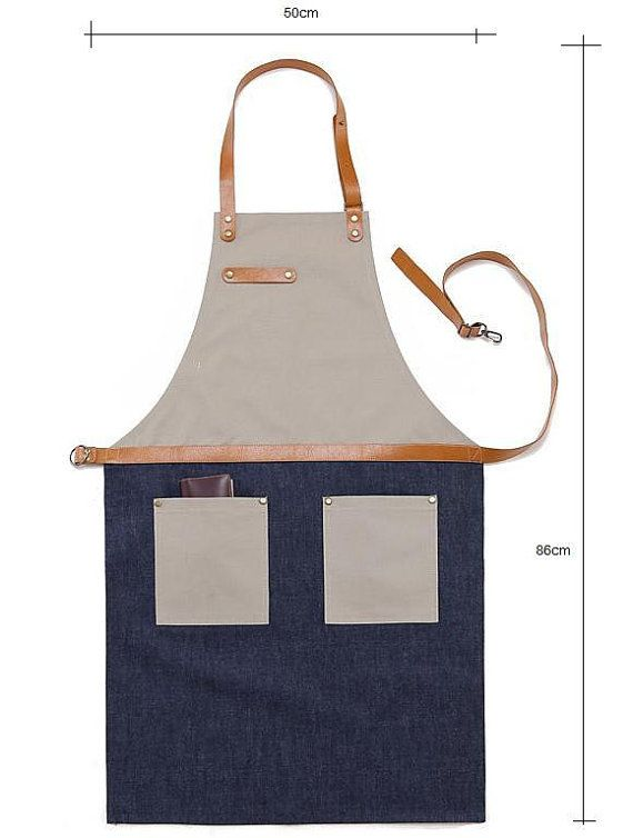 Premium Gift for woman and man Chef Works Handmade Apron Japanese Cross Back - Denim canvas leather Apron Beige Blue