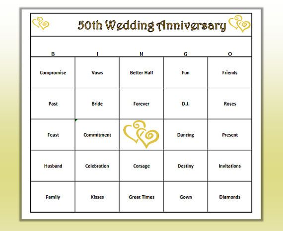 50th Anniversary Party BINGO game. Fun way to celebrate a lifetime of love. Easy to play for all ages.