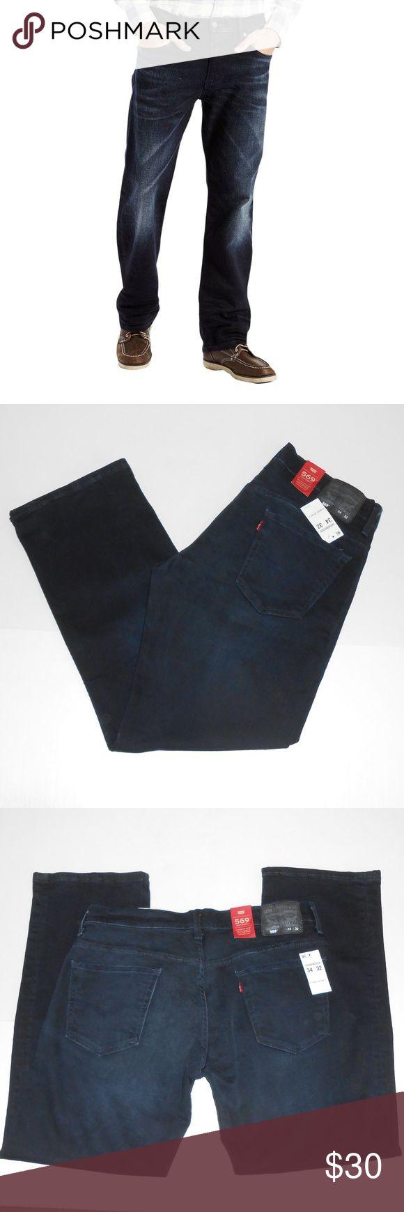 "Levis  569 Loose Straight Leg Jeans sz 34x32 Brand new pair of Levis 569 Loose Straight Leg Jeans sz 34x32. Cotton blend. Dark blue.  Measurements Waist: 18.5"" across Inseam: 31"" Levi's Jeans"
