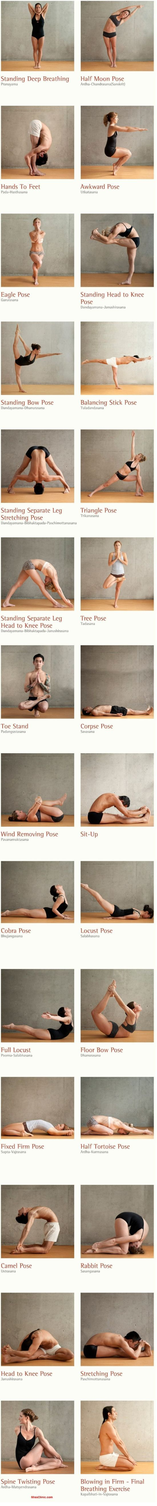 26 Healthy Yoga Postures - Consisting of 26 postures and 2 breathing exercises, Bikram Yoga positions focuses on 100% of the human body, working from the inside out. The 26 Bikram yoga poses invigorate by stimulating the organs, glands, and nerves; each pose helping to move fresh oxygen through the body.