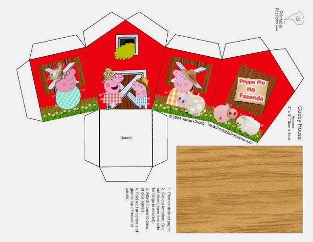 Peppa Pig en la Granja: Caja con Forma de Casa para Imprimir Gratis. | Ideas y material gratis para fiestas y celebraciones Oh My Fiesta!