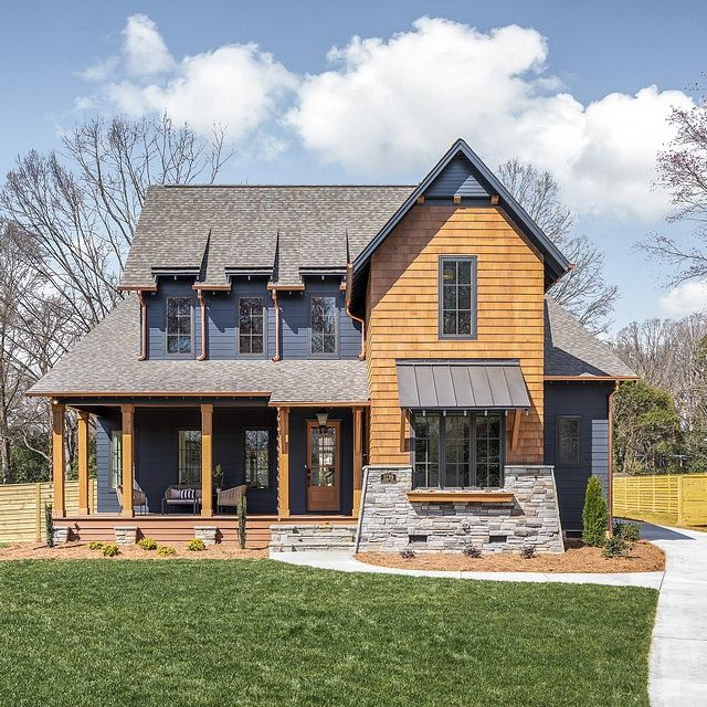 Dark Exterior Farmhouse Rustic Meets Modern In This Newly
